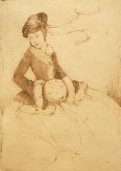 Cardiff artist M. Beryl West pencil signed antique etching 1920's